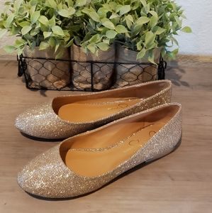 Jessica Simpson Ginly Ballet Flat Gold Shoes